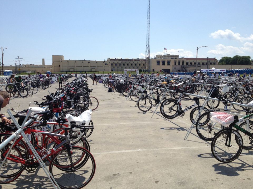 Our bikes are on the left. Mine is the red GT, and Graham's is the red Kestrel behind it.